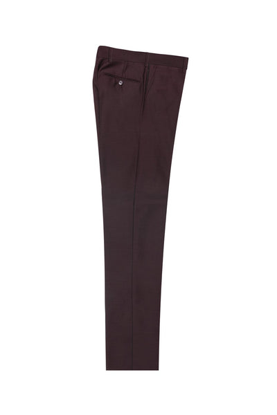 Brite Creations Burgundy Flat Front Wool Dress Pant 2560 by Tiglio Luxe BURGUNDY