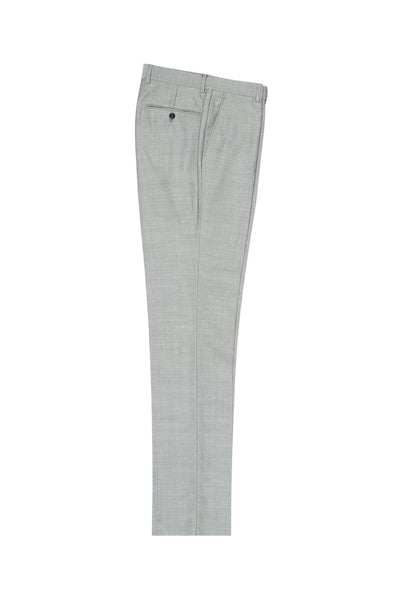 Brite Creations Light Gray Herringbone Flat Front Wool Dress Pant 2560 by Tiglio Luxe
