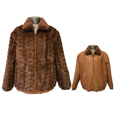 Diamond Mink/Leather Reversible Jacket - Timber
