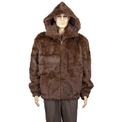 Full Skin Rabbit Jacket with Detachable Hood - Brown