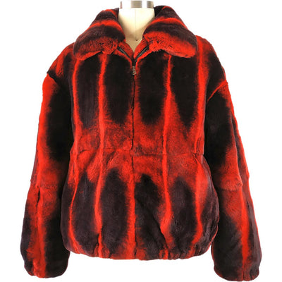Full Skin Rex Rabbit Jacket - Red