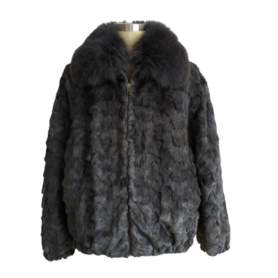Diamond Mink Jacket - Blue Iris