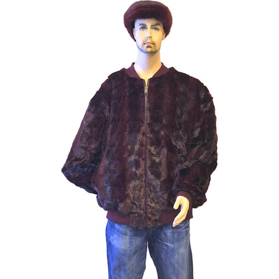 Diamond Mink Baseball Jacket - Burgundy