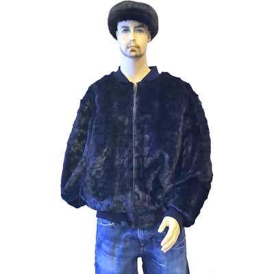 Diamond Mink Baseball Jacket - Navy