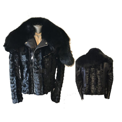 Diamond Mink Motor Jacket with Removable Fox Collar - Black