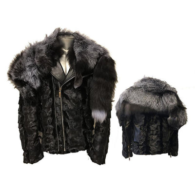 Diamond Mink Motor Jacket with Removable Fox Collar - Black/Silver Fox