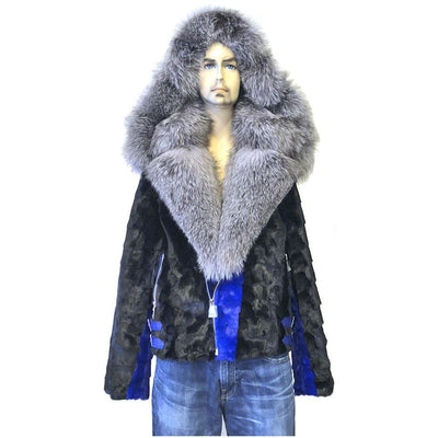 Diamond Mink Motor Jacket w/Fox Collar and Hood - Royal Blue