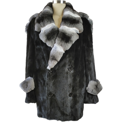 Full Skin Mink Pea Coat w/ Real Chinchilla Collar - Black