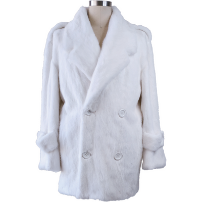 Full Skin Mink Pea Coat - White