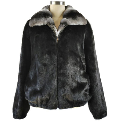 Full Skin Mink Jacket w/Real Chinchilla Collar - Black