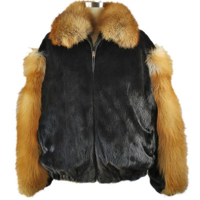 Full Skin Mink Jacket w/Red Fox Collar and Sleeves - Black/Red Fox