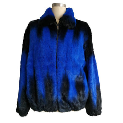 Full Skin Mink Jacket - Blue Degrade
