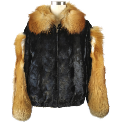 Mink Jacket w/Red Fox Collar and Sleeves - Black/Red Fox