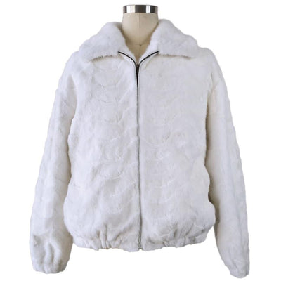 Mink Bomber Jacket w/Full Skin Mink Collar - White