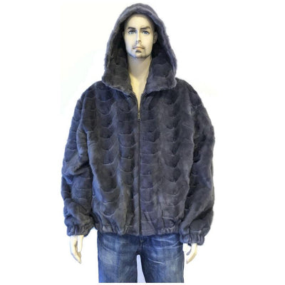 Mink Bomber Jacket with Detachable Hood - Blue Iris