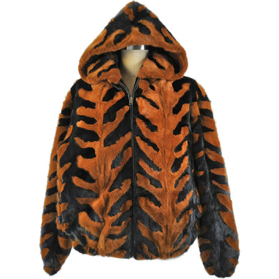 Mink Jacket with Detachable Hood - Brown/Black