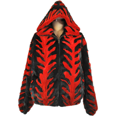 Mink Jacket with Detachable Hood - Red/Black