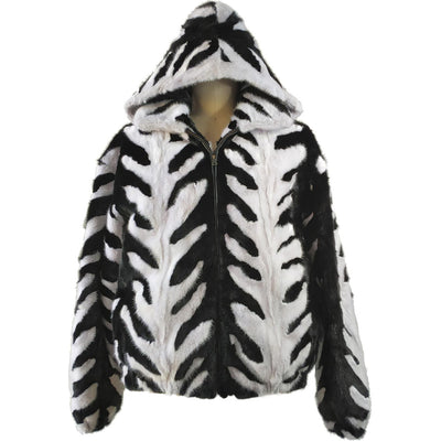 Mink Jacket with Detachable Hood - Black/White