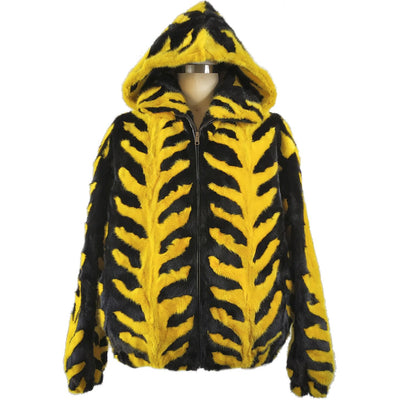 Mink Jacket with Detachable Hood - Black/Yellow