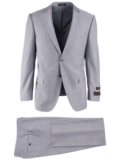 Brite Creations Novello Light Gray Herringbone, Modern Fit, Pure Wool Suit by Tiglio L
