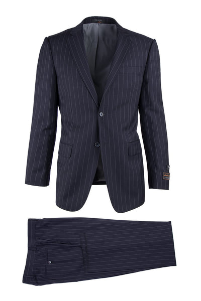 Brite Creations Novello Navy Blue Pinstripe, Modern Fit, Pure Wool Suit by Tiglio Luxe