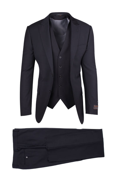 Brite Creations Tufo Black, Modern Fit, Pure Wool Suit & Vest by Tiglio Luxe TIG1001