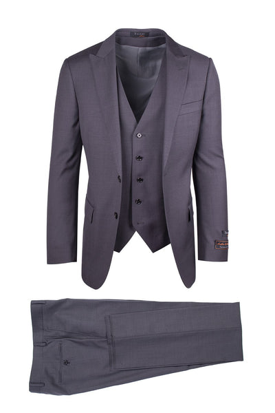 Brite Creations Tufo Gray, Modern Fit, Pure Wool Suit & Vest by Tiglio Luxe TIG1008