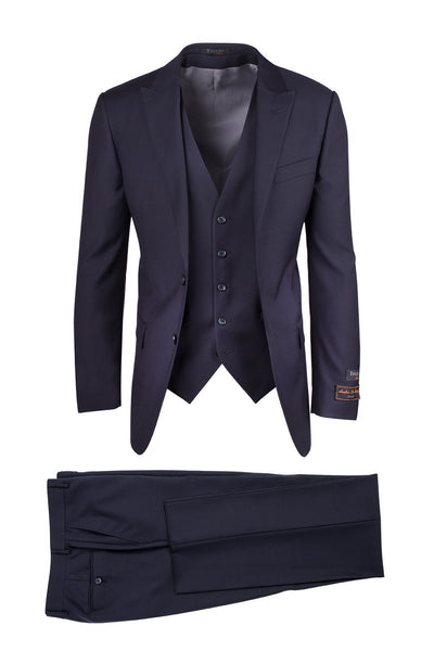 Brite Creations Tufo Navy, Modern Fit, Pure Wool Suit & Vest by Tiglio Luxe TIG1002