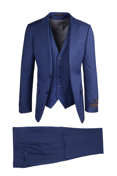 Brite Creations Tufo New Blue, Modern Fit, Pure Wool Suit & Vest by Tiglio Luxe TS4066