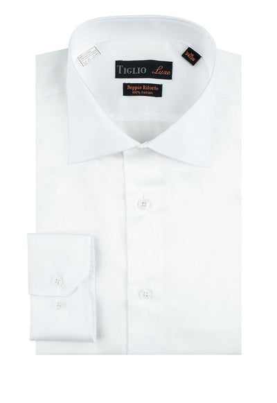 Brite Creations White Dress Shirt, Regular Cuff, by Tiglio Genova RC TIG3012