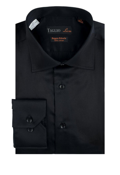Brite Creations Black Dress Shirt, Regular Cuff, by Tiglio Genova RC TIG3014