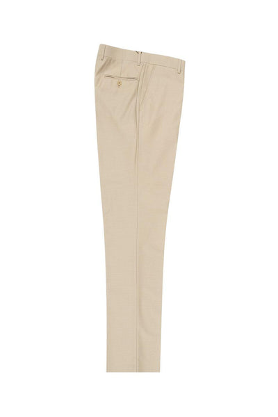 Brite Creations Tan Flat Front Wool Dress Pant 2560 by Tiglio Luxe TIG1004