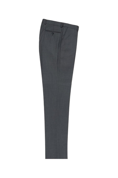 Brite Creations Dark Gray Birdseye Flat Front Wool Dress Pant 2560 by Tiglio Luxe IDM7