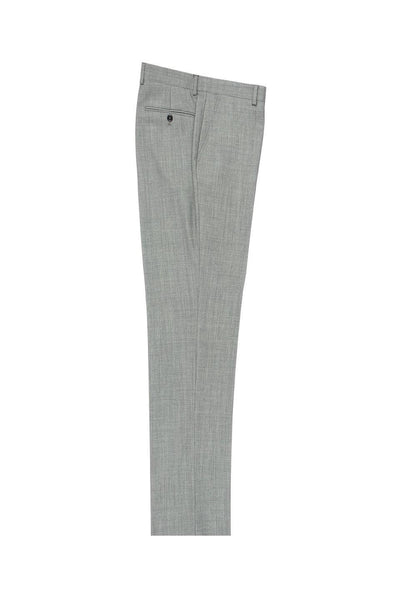 Brite Creations Light Gray Birdseye Flat Front Wool Dress Pant 2560 by Tiglio Luxe TIG