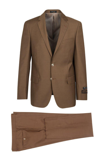 Brite Creations Novello Tobacco, Modern Fit, Pure Wool Suit by Tiglio Luxe - Tobacco