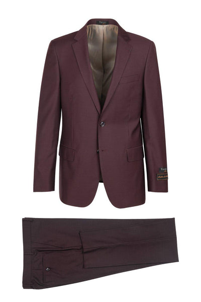 Brite Creations Novello Burgundy, Modern Fit, Pure Wool Suit by Tiglio Luxe - Burgundy
