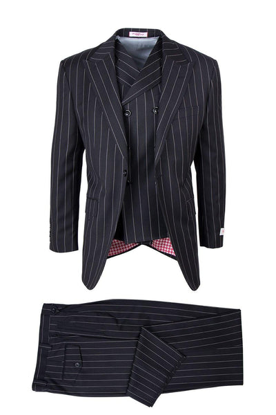 Brite Creations San Giovesse Black Bold Pinstripe Pure Wool, Wide Leg Suit & Vest by T