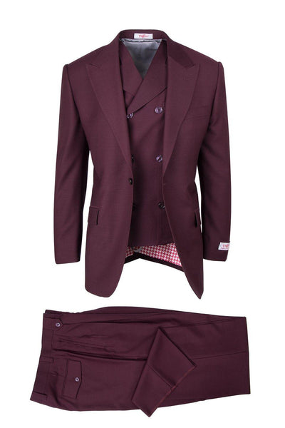 Brite Creations San Giovesse Burgundy, Pure Wool, Wide Leg Suit & Vest by Tiglio Rosso