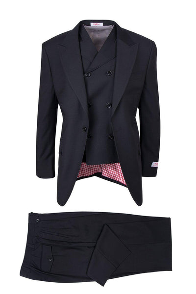 Brite Creations San Giovesse Black, Pure Wool, Wide Leg Suit & Vest by Tiglio Rosso TI