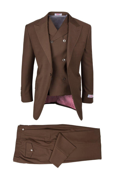 Brite Creations San Giovesse Tobacco, Pure Wool, Wide Leg Suit & Vest by Tiglio Rosso