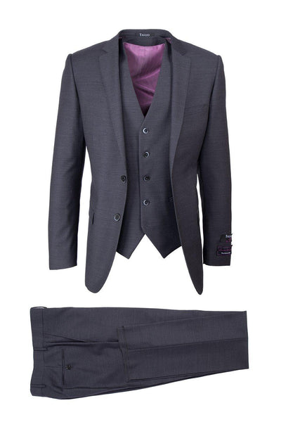 Brite Creations Sienna Charcoal Gray, Slim Fit, Pure Wool Suit & Vest by Tiglio Luxe T