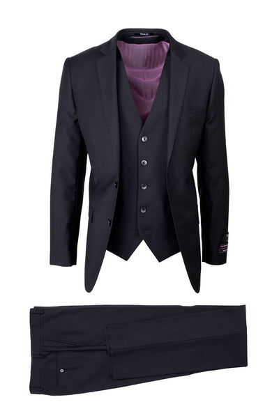 Brite Creations Sienna Black, Slim Fit, Pure Wool Suit & Vest by Tiglio Luxe TIG1001