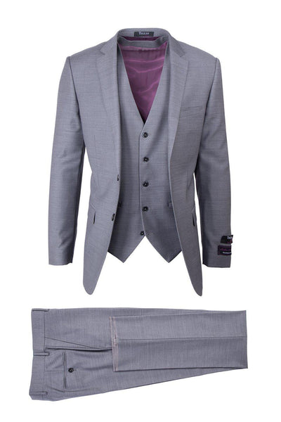 Brite Creations Sienna Light Gray, Slim Fit, Pure Wool Suit & Vest by Tiglio Luxe E090