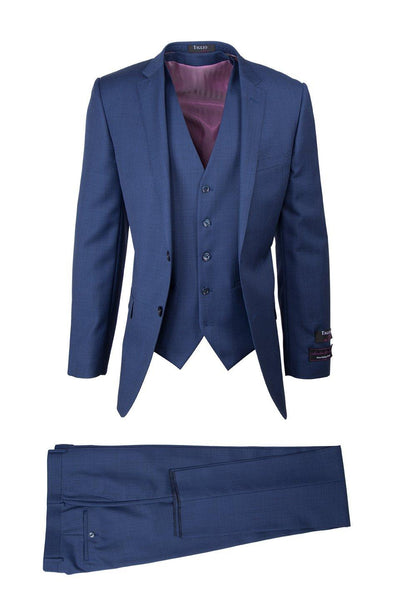 Brite Creations Sienna New Blue, Slim Fit, Pure Wool Suit & Vest by Tiglio Luxe TS4066