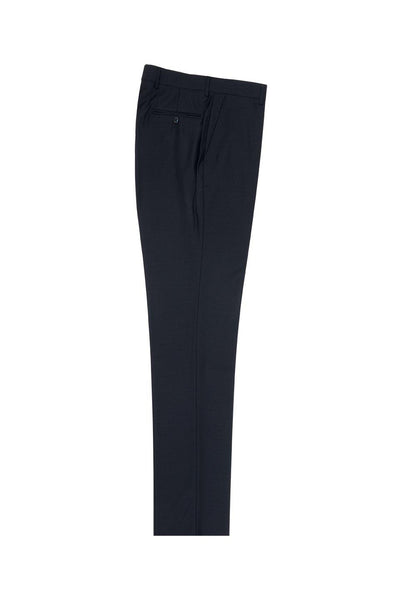 Brite Creations Navy Flat Front Slim Fit Wool Dress Pant 2564 by Tiglio Luxe TIG1002