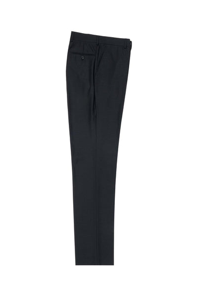 Brite Creations Black Flat Front Slim Fit Wool Dress Pant 2564 by Tiglio Luxe TIG1001