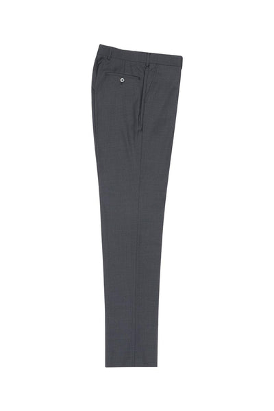 Brite Creations Gray Flat Front Slim Fit Wool Dress Pant 2564 by Tiglio Luxe TIG1008