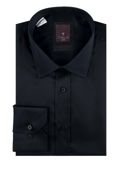 Brite Creations Black Slim Fit Shirt, Barrel Cuff, by Tiglio Slim Fit RC TIG3014