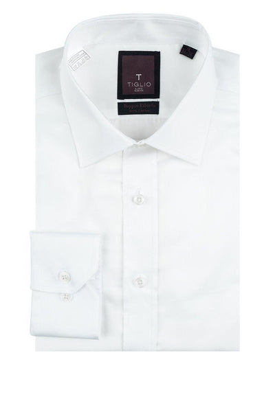 Brite Creations White Slim Fit Shirt, Barrel Cuff, by Tiglio Slim Fit RC TIG3012
