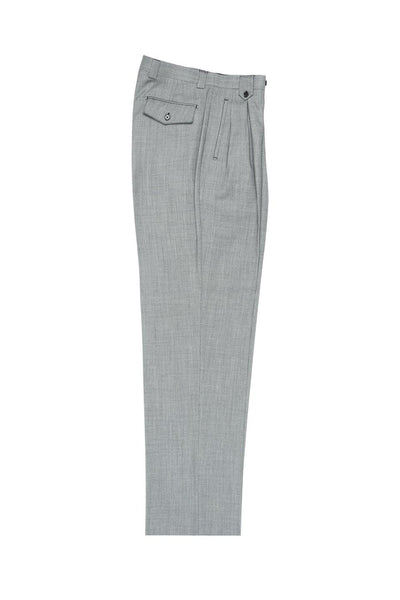 Brite Creations Light Gray Bridseye Wide Leg Wool Dress Pant 2586/2576 by Tiglio Luxe